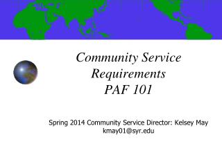 Community Service Requirements PAF 101