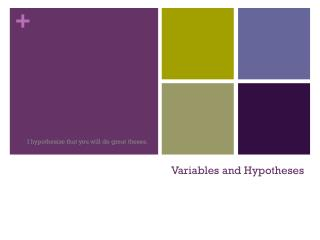 Variables and Hypotheses