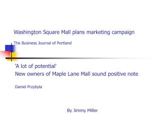 Washington Square Mall plans marketing campaign  The Business Journal of Portland