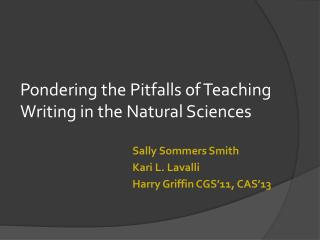 Pondering the Pitfalls of Teaching Writing in the Natural Sciences