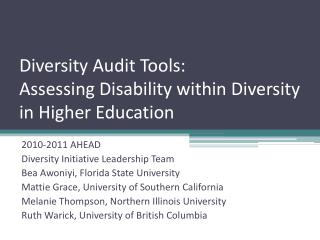 Diversity Audit Tools:  Assessing Disability within Diversity in Higher Education