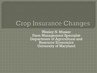 Crop Insurance Changes