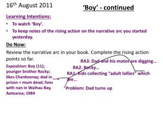 Learning Intentions: To  watch 'Boy '.