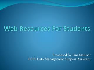 Web Resources For Students