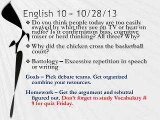 English 10 � 10/28/13