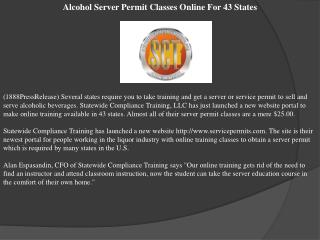 Alcohol Server Permit Classes Online For 43 States