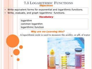 7.3 Logarithmic Functions