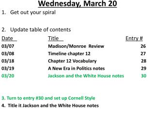 Wednesday ,  March  20