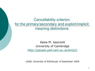 Cancellability criterion for the primary