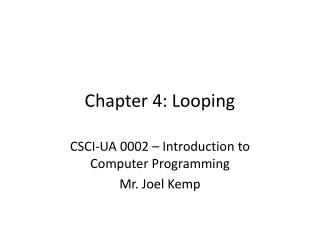Chapter 4: Looping