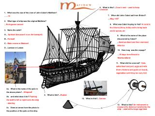 1.   What was the size of the crew of John Cabot�s Matthew? �� 18