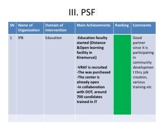 III. PSF