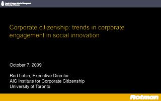 Corporate citizenship: trends in corporate engagement in social innovation