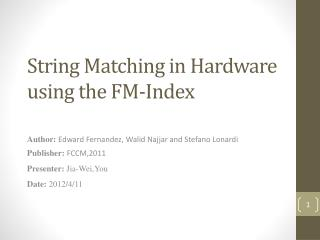 String Matching in Hardware using the FM-Index