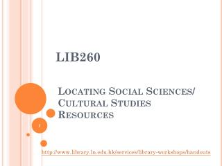 Locating  Social Sciences/ Cultural Studies Resources