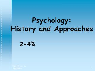 Psychology: History and Approaches