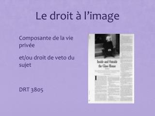 Le droit à l'image