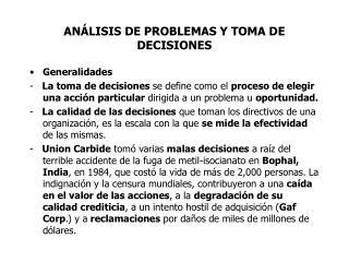AN�LISIS DE PROBLEMAS Y TOMA DE DECISIONES