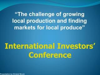 International Investors' Conference