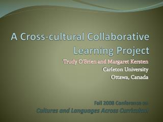 A Cross-cultural Collaborative Learning Project