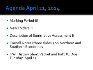 Agenda April 21, 2014