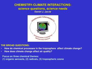 CHEMISTRY-CLIMATE INTERACTIONS: science questions, science needs Daniel J. Jacob