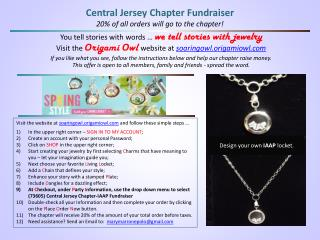 Central Jersey Chapter Fundraiser 20% of all orders will go to the chapter!