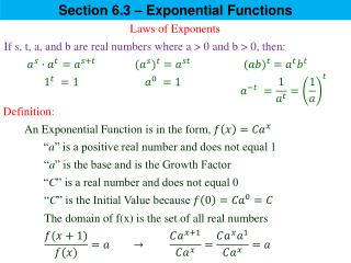 Section  6.3 – Exponential  Functions