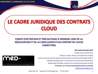 Le cadre juridique des contrats  cloud