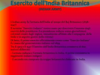 Esercito  dell'India  Britannica  ( INDIAN ARMY)