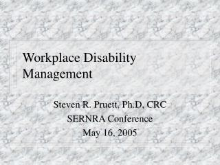 Workplace Disability Management