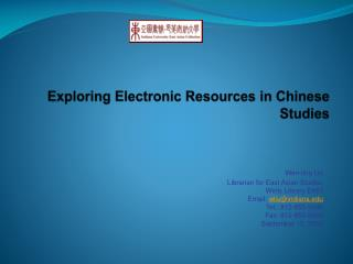 Exploring Electronic Resources in Chinese Studies