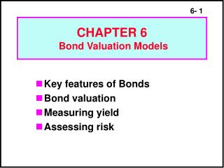 CHAPTER 6  Bond Valuation Models