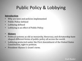 Public Policy & Lobbying