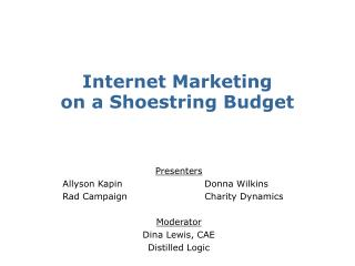 Internet Marketing  on a Shoestring Budget