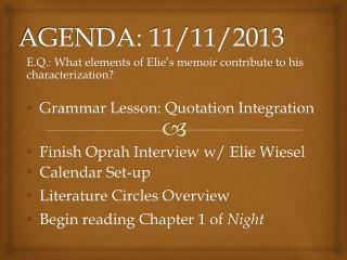 AGENDA: 11/11/2013