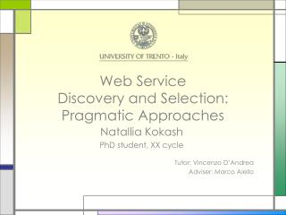 Web Service  Discovery and Selection: Pragmatic Approaches