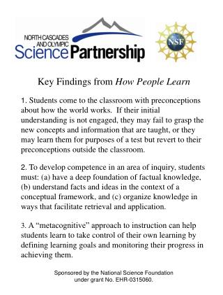 Key Findings from  How People Learn