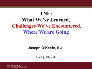 TNE: What We've Learned, Challenges We've Encountered ,  Where We are Going