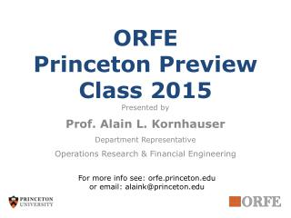 ORFE Princeton Preview Class 2015