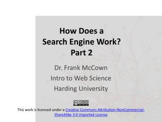 How Does a  Search Engine Work? Part 2
