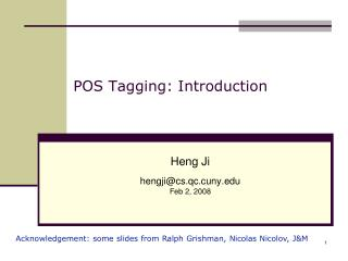 POS Tagging: Introduction