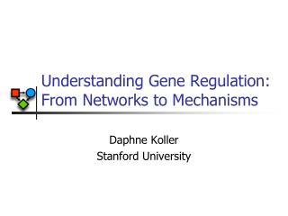 Understanding Gene Regulation:  From Networks to Mechanisms