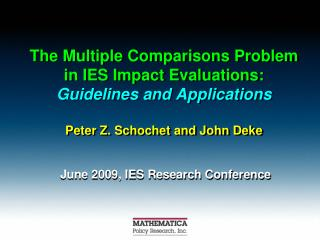 June 2009,  IES  Research Conference