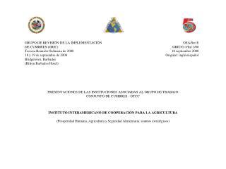 PRESENTACIONES DE LAS INSTITUCIONES ASOCIADAS AL GRUPO DE TRABAJO CONJUNTO DE CUMBRES - GTCC
