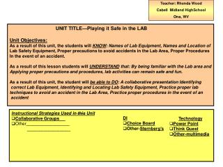 UNIT  TITLE—Playing it Safe in the LAB Unit Objectives: