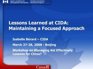 Isabelle Bérard – CIDA March 27-28, 2008 - Beijing