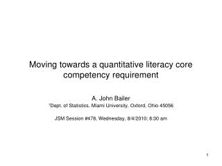 Moving towards a quantitative literacy core competency requirement