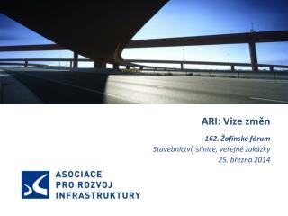 ARI: Vize změn 162.  Žofínské  fórum Stavebnictví, silnice, veřejné zakázky 25 . března 2014