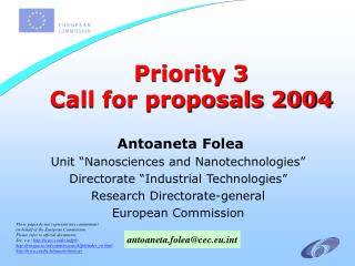 Priority 3  Call for proposals 2004